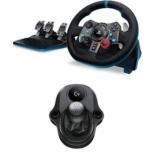 Logitech G G29 Volante y Pedales de Carrera, Force Feedback, para PS5, PS4, PC y MAC y Palanca de Cambio para Volante, 6 Velocidades, Marcha Atrás a Presion, Acero y Cuero auténtico