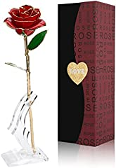 Cozime Rosa de Oro 24K con Base Soporte, Fresco Rosas Vivas con Caja de Regalo para Madre, Novia, Esposa, el Día de San Valentín, Navidad, Fiestas Doradas - Rojo (Rojo) (Rojo)