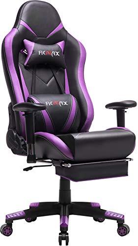 Ficmax Gaming Stuhl Ergonomischer Computer Spielstuhl Racing Stil E-Sports Stuhl mit Massage Lordosenstütze, Übergröße Bürostuhl mit Kopfstütze Kissen, Gamer Stühle mit Ausziehbarem Fußraste (Violet)