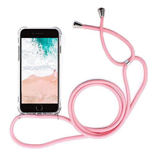 Handykette kompatibel mit Samsung Galaxy J2 Core, Handyhülle Smartphone Necklace Hülle mit Band Schutzhülle Kordel zum Umhängen Transparent Weich TPU Silikon Tasche(Rosa/Pink)