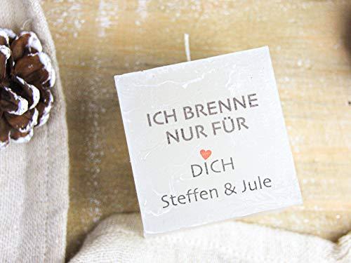 Hochzeitstag Geschenk für Männer, Frauen, Paare - Valentinstag Geschenk - Ich brenne nur für Dich - bedruckte personalisierte Kerze