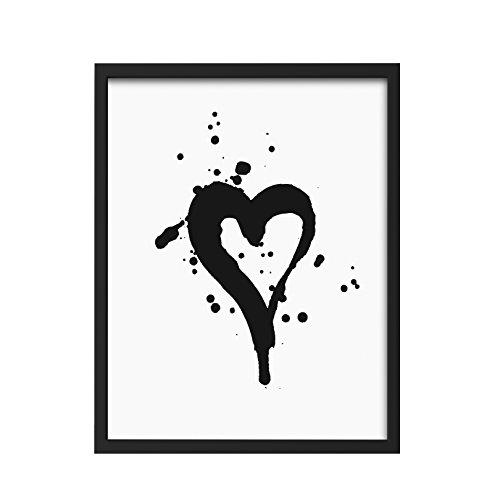 We Love Home - Cuadro con marco de madera negra estilo nórdico modelo Heart (30 x 40)