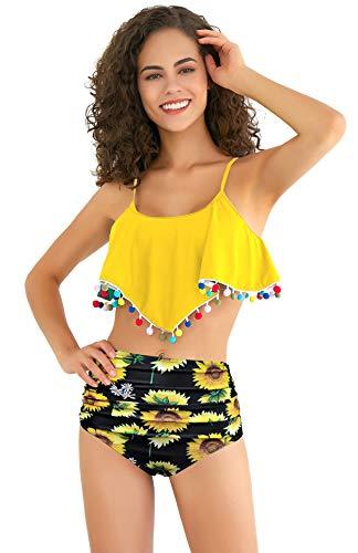 SHEKINI Damen Volant Strand Bikinis High Waist Bauchweg Hose Blumenmuster Zweiteiliger Bikini Set Troddel Farbige Kugel Bademode (Large, Zitronengelb)