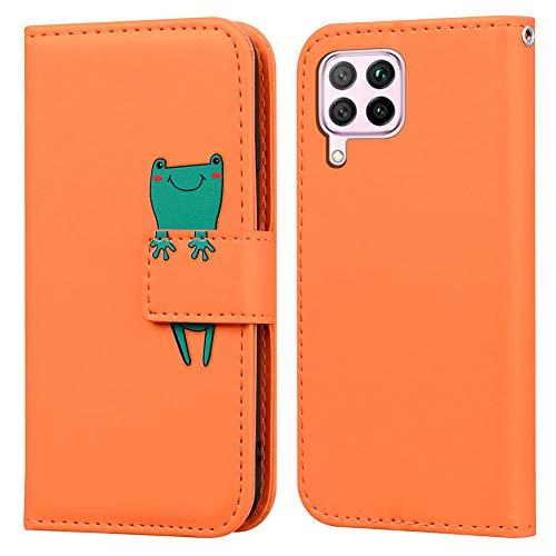 Ailisi Huawei P40 lite Hülle, Karikatur Grün Frog Muster Leder Handyhülle Brieftasche Schutzhülle Leder Flip Hülle Wallet Cover Klapphüllen Tasche Etui mit Kartenfächern+Stand -Frosch, Orange