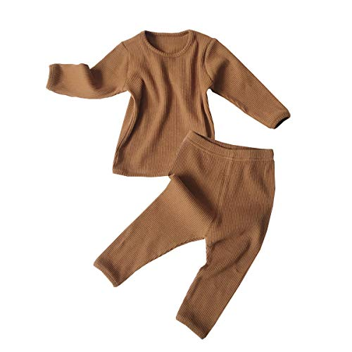 Toddler Baby Boys Girls Clothes Organic Ribbed Sweatsuit and Long Pants 2Pcs Casual Set Solid Color Outfit(2-3T,Caramel #1)