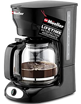 Mueller 12-Cup Drip Coffee Maker Auto Keep Warm Function Smart Anti-Drip System with Durable Permanent Filter and Borosilicate Glass Carafe Clear Water Level Window Coffee Machine