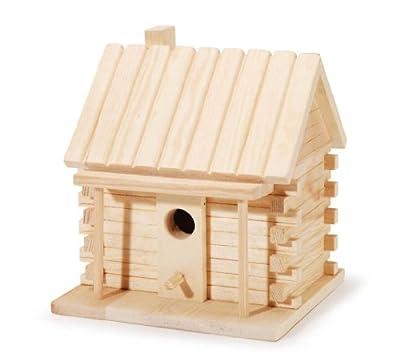 Darice 9184-91 Natural Wood Log Cabin Birdhouse, 7.1 -Inch
