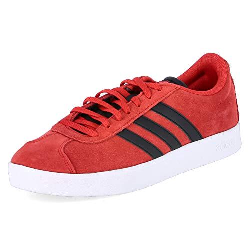adidas Herren Vl Court 2.0 Turnschuh-Skateboard-Mann, Rot Scarlet Core Black FTWR White, 42 EU