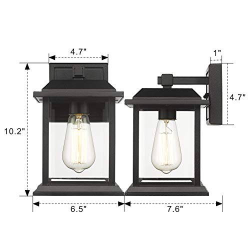 Zeyu Exterior Wall Sconce Lighting, Outdoor Porch Lantern for Patio, Black Finish with Clear Glass Shade, 0409 BK