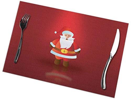 Juego de 6 manteles individuales de Santa Claus, lavables, antideslizantes, resistentes a las manchas, para mesa, antideslizantes, de 12 x 18 pulgadas