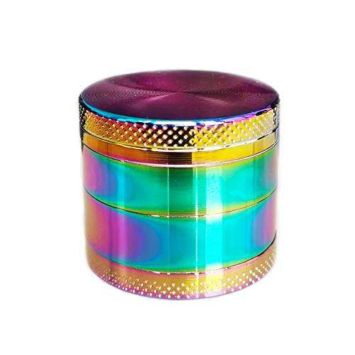 Grinder Zinc Alloy 4 Piece Crusher 1.5' Pocket Size Grinder for Pepper Spice Herb Rainbow Design