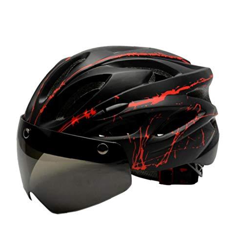 linjunddd Casco De Ciclista Ciclismo Casco con Visera Magnética Ajustable para Adultos Ciclismo Cascos para Los Deportes Al Aire Libre L Negro Rojo Accesorios De Ciclismo