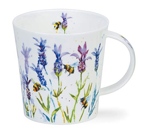 Dunoon Taza de porcelana fina hecha en Inglaterra, diseño de abejas ocupadas 480 ml, apta para lavavajillas (lavanda)