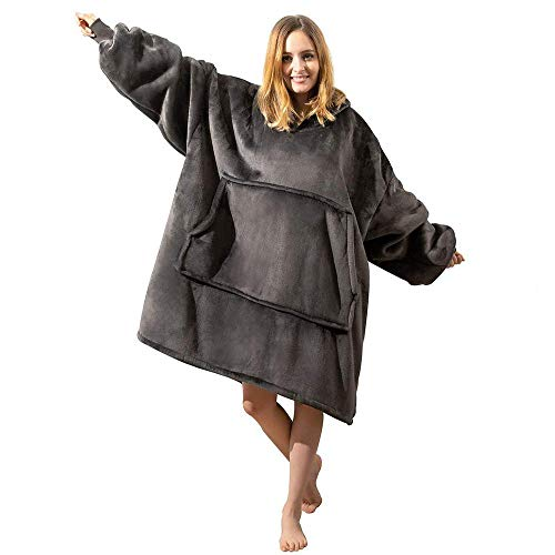 Sudadera con capucha Sherpa de gran tamaño, con bolsillo frontal gigante, súper suave, cálida, cómoda, talla única, para hombres, mujeres, niñas, niños.