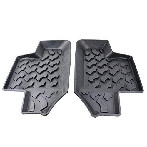 MOEBULB Rubber Rear Row Floor Mat Liner Carpets Pad Compatible for 2007-2017 Jeep Wrangler JK 2-Door (2pcs/Set, Black)