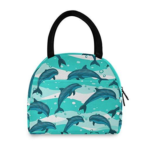 JNlover - Bolsa de almuerzo térmica con diseño de delfines oceánicos para mujeres, hombres, niños, caja de almuerzo reutilizable para picnic, trabajo, escuela, camping
