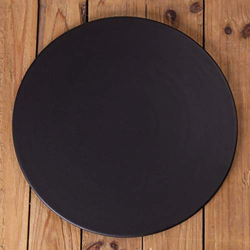 MJHSP Matte Black Flat Ceramic Plate Rectangular Square Round Dessert Plate Western Sushi Plate Cake Plate (Color : B-26cm)
