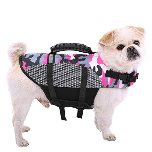 SAWMONG Dog Life Jacket for Small Medium Large Dogs, Adjustable Dog Flotation Vest, Dog Safety Life Vest with Rescue Handle for Swimming (Pink, L)