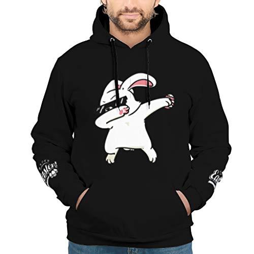 EUNNT Herren Unisex Kapuzenpullover Dabbing Easter Bunny Cute Training Sweatshirt Pullover Rundhals Für Jugenden White 3XL