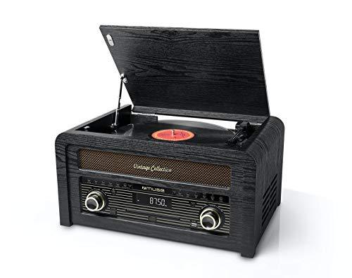 Muse MT-115 - Microcadena de CD con tocadiscos y radio FM (30 presintonías) en diseño de armario de madera