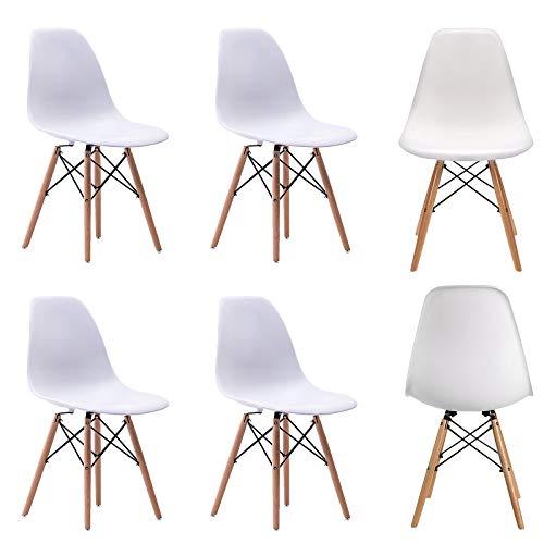 WV LeisureMaster - Set di 6 sedie da pranzo con gambe in legno, in materiale ABS, 6 pezzi, colore: Bianco