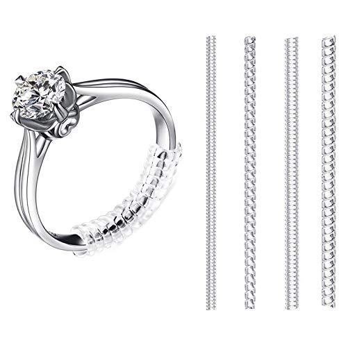 Ringverkleinerer, Unsichtbar Größenversteller, Spiraleinsatz Invisible Strip Adjuster Perfekt für Alle Größen Lose Ringe mit Silbernem Poliertuch (4 Stück, 4 Modelle)