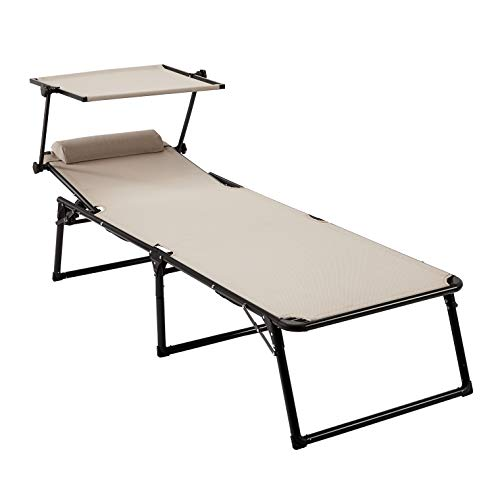 AmazonBasics Aluminium Folding Sun Lounger with Canopy, Three-Legged Lounger with 5 Adjustable Positions,Beige