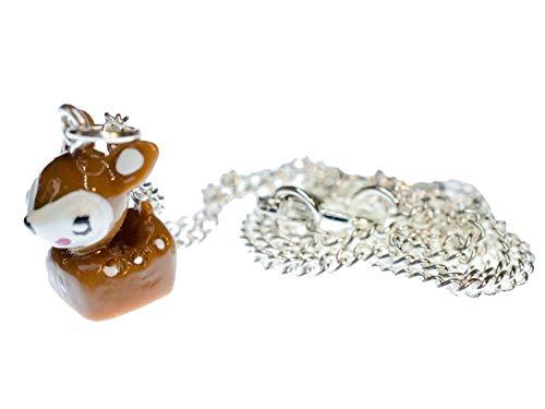 Miniblings Ciervos del Bebe Cadena Collar de Cadena 45cm Cervatillo Ciervos Puntos Marrones - Cadena de eslabones de Plata - joyería Hecha a Mano
