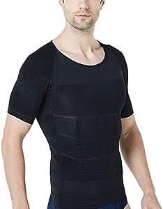 STTLZMC Faja Camiseta Hombre Deportiva Adelgazante Reductora Compresion Elástica de Ropa Interior,Negro,L