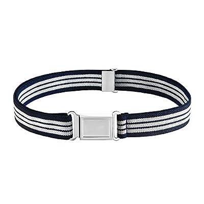 Buyless Fashion Kids Boys Toddler Adjustable Elastic Dress Stretch Belt with Flat Magnetic Buckle - 5099-Navy-White-Stripe