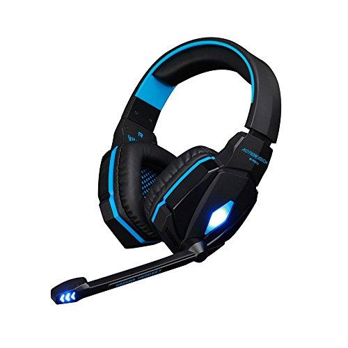 KOTION EACH G4000 Gaming Headset mit Hifi-Treiber On-Ear-Kopfhörer mit Noise Cancelling Stereo-Ohrhörer mit Lautstärkeregler Mikrofon für PC Computer Gaming, Laptop-Computer (schwarz+blau)