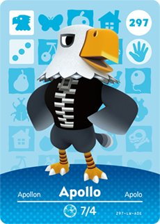 Apollo - Nintendo Animal Crossing Happy Home Designer Amiibo Card - 297
