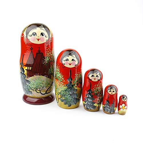 Muñecas Rusas, 5 Matrioskas de Estilo Iglesia | Muñeca Babushka de Madera, Diseño de Templo, Hecha a Mano en Rusia | Iglesia, 5 Piezas, 18 cm