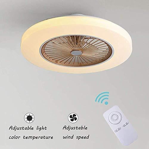 Deckenventilatoren Mit Beleuchtung Creative Invisible Fan LED-Deckenleuchte Fernbedienung Dimmbar Ultra-leise Kann Timing Fan Kronleuchter Modernes Wohnzimmer Schlafzimmer Fan Lampe Φ58 * H20cm Brown