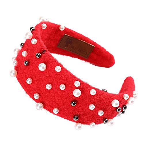 Turbantes Headband Diademas para Mujer Turbantes Diadema De Perlas, Bandas para El Cabello con Cuentas, Estilo Retro, AC