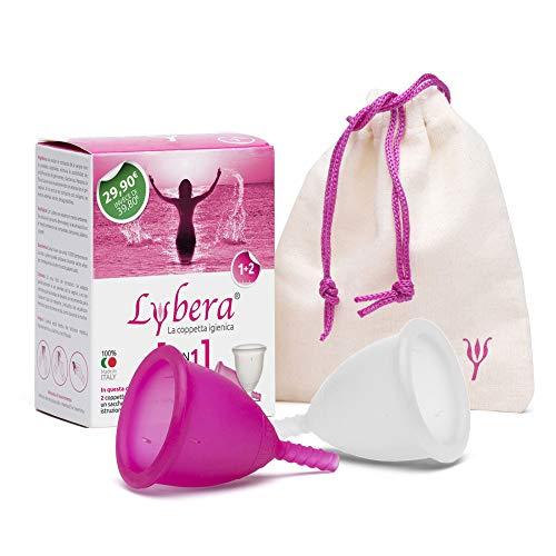 Lybera Kit 2 Coppette Mestruali Made in Italy, Coppetta Mestruale Morbida, Sicura, in Silicone Medicale, Ecologica, Comoda, Taglia 1 e Taglia 2, 2 Pezzi, Trasparente e Fucsia