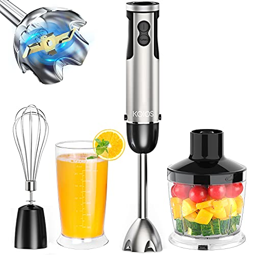 KOIOS Hand Blender,800W 12-Speed 4-in-1 Multi-purpose Immersion Blender Handheld with Stainless Steel Blades,600ml Mixing Beaker, 500ml Chopper, and Whisk Attachment, Stick Blender for Smoothies,Soup,and Baby Food,BPA-Free