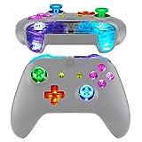 eXtremeRate LED Multicolores Botones para Xbox One Mando Botón de D-Pad Joysticks Start Back ABXY Acción Teclas DTFS (DTF 2.0) LED Kit para Xbox One S X Control(Modelo 1708)-No Incluye Mando