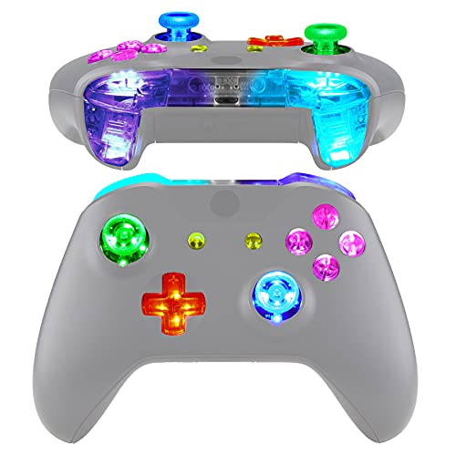 eXtremeRate Multi-Colors Luminated Bumpers Triggers Dpad Thumbsticks Start Back ABXY Action Buttons, DTFS (DTF 2.0) LED Kit for Xbox One S X Controller (Model 1708) - Controller NOT Included