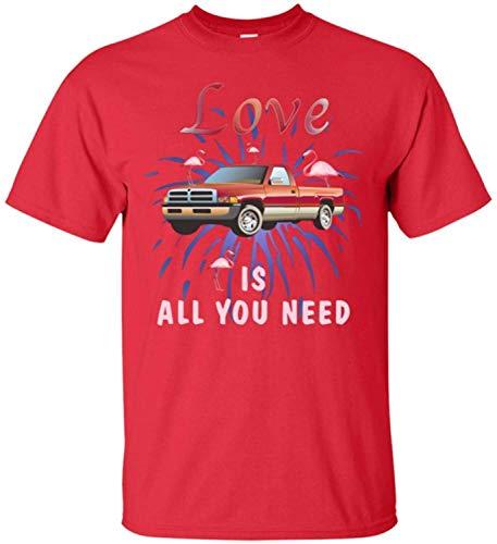 WHI-TS Novelty Custom T-Shirt Love is All You Need Flamingo and Car Herren's T-Shirts