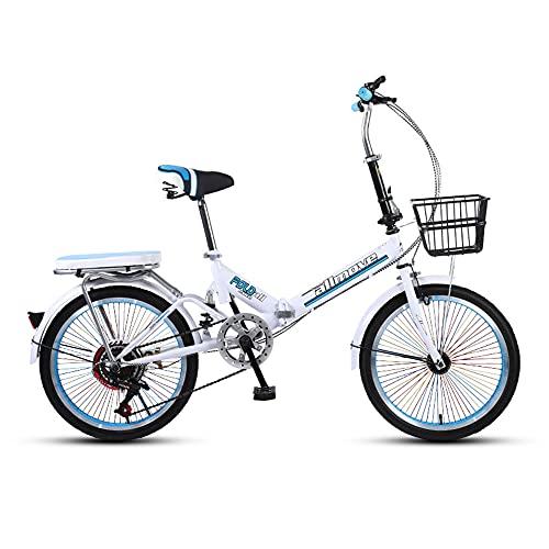 Bicicleta, Bicicleta PortáTil de 20 Pulgadas, Bicicleta de Viaje Diario, Sistema de Freno Doble, TransmisióN de 6 Velocidades, Marco Plegable, para Trabajadores de Oficina/Estudiantes/C