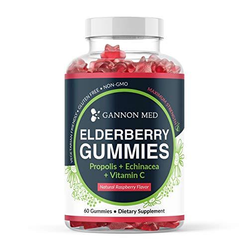 Elderberry Gummies for Kids & Adults Immune Support - Vitamin C Echinacea Propolis & Sambucus Black Elderberry Gummy Vitamins for Men & Women - Organic Nature Booster - 2 Month Supply - 1 Pack