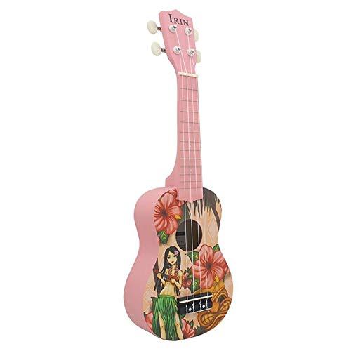 PNLD Ukelele Sopran 21-Zoll-Gitarre Ukulele 4 Nylon String kleine Gitarre Musik-Instrument Professionelle Akustik Hawaii-Gitarre (Farbe : Rosa, Größe : 21 inches)