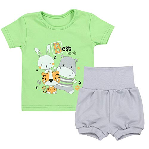 TupTam Baby Jungen Sommer Bekleidung T-Shirt Shorts Set, Farbe: Best Friends/Zartgrün/Grau, Größe: 92-98
