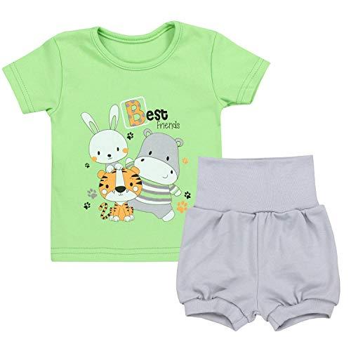 TupTam Baby Jungen Sommer Bekleidung T-Shirt Shorts Set, Farbe: Best Friends/Zartgrün/Grau, Größe: 68/74