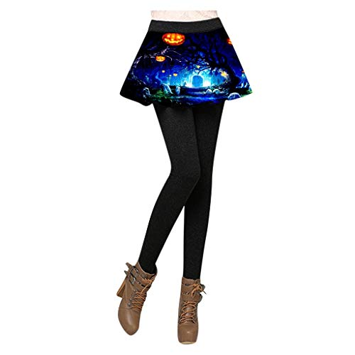Zarupeng Dames Halloween-legging rok broek festival party tights broekrok potloodbroek vervalste twee stuks panty
