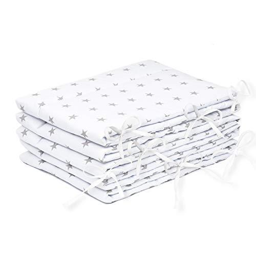 Bettumrandung Nest Kopfschutz Nestchen 420x30cm, 360x30cm, 180x30 cm Bettnestchen Baby Kantenschutz Bettausstattung Sternchen weiß (A3) (420x30cm)