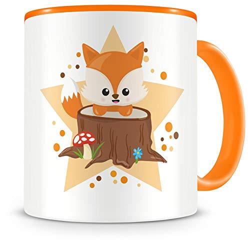 Samunshi® Taza infantil con un dulce zorro como diseño, taza de café, taza de té, taza de cacao, color naranja