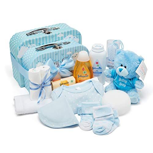 Baby Geschenkset I Geschenk Geburt & Taufe I Originelle Geschenkidee für Neugeborene – Süße Erinnerungsboxen mit Teddy, Kleidung, Lätzchen, Badeschaum – Geschenk zur Geburt Junge