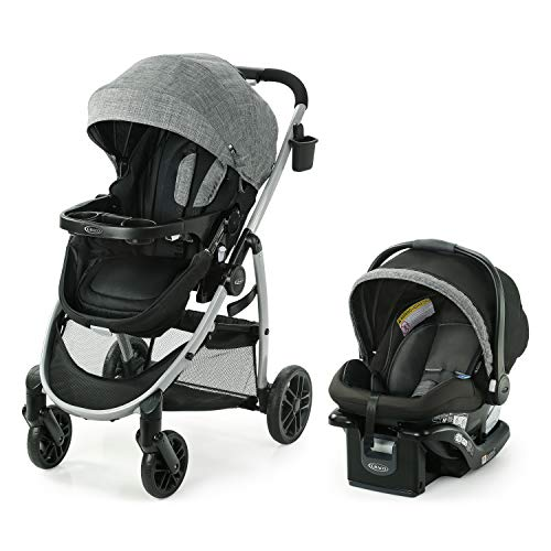 Graco Modes Pramette Travel System | Includes Baby Stroller with True Bassinet Mode, Reversible Seat, One Hand Fold, Extra Storage, Child Tray and SnugRide 35 Infant Car Seat, Ellington